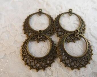 """Vintage gold plate brass stamped filigree hoops,1"""",4pcs-ERG17"""
