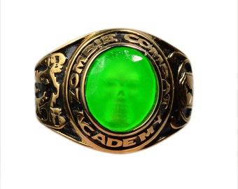 Zombie  Combat Academy Graduation  Skull Ring SIZE 9 BRIGHT GREEN