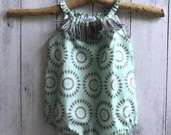 Circle of Feathers baby girl romper, Mint - Sleeveless with grey tassel sizes 0000 to 2