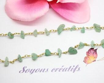 50 cm chain Aventurine green stones irregular - creating jewelry-