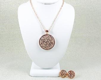 Rose Gold Druzy Jewelry Set - Bridesmaid - Necklace and Earring Set - Rose Gold - Rose Gold Jewelry - Gift Sets - Druzy - Wedding Jewelry -