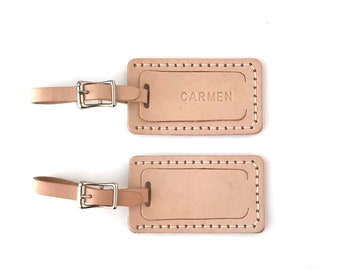 Personalized Luggage Tag - Genuine Leather- Plain or Perzonalized- Free shipping  to the USA