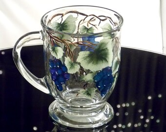Hand Painted Coffee Mug Blue Grapes Green Leaves Hand Painted Glassware Hand Painted Coffee Mugs Hand Painted Tea Cups Painted Glass Custom
