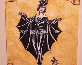 Halloween Bat Girl Original Pin Up Art