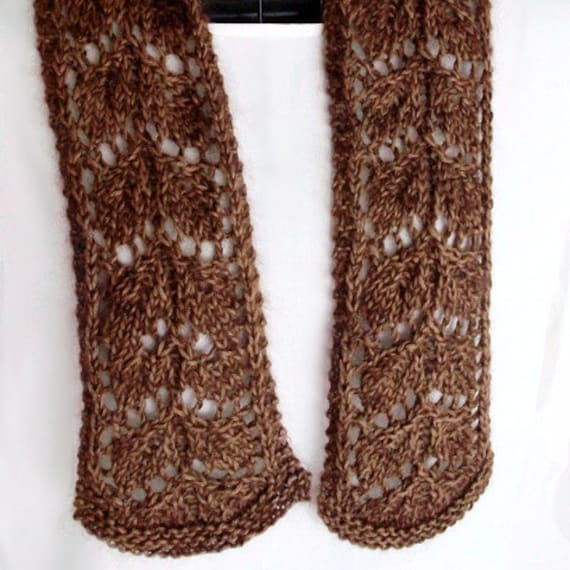 Knitting Frosted Fall Leaves Lace Scarf Pattern Vintage Style