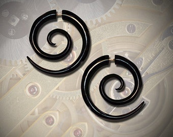 Fake Gauge Earrings, Tribal Jewelry, Double Spiral Earrings, BOHO Earrings, Fake Gauges, Eco Friendly, Black Horn, OrganicEarrings - H14