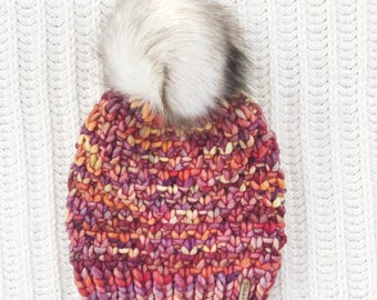 Faux Fur Pom Pom, 100% Wool Hand Knit Chunky Hat, Chunky Knit Beanie, Knit Pom Pom Hat / / THE LINDEN, Ready to Ship, OOAK