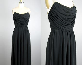 Vintage 1970s Black Dress 70s Polyester Jersey Cocktail Dress with Rhinestone Straps by Rimini Size M