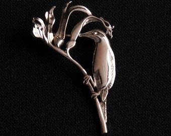 Kangaroo Paw/ Honey Eater Brooch- sterling silver  48mm