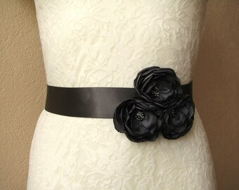 Wedding sash dark gray Bridesmaid dress belt Flower girl satin sash Bridal sash Charcoal gray