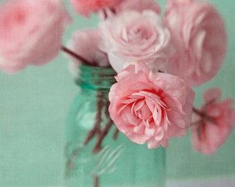Ranunculus Print,  Floral Art Print, Housewarming Gift, Pink Turquoise Floral Wall Art, Romantic Wall Art, Flower Photo, Bedroom Art