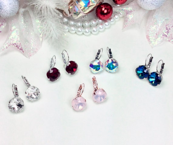 Swarovski Crystal 12mm CUSHION Cut Drop Earrings - Perfect Classy Gift - Choose Your Favorite Color/Finish- Pretty Gift Wrap & FREE SHIPPING
