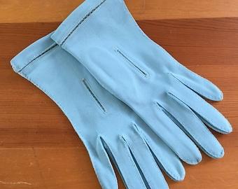 Vintage Robin's Egg Blue Wrist Gloves, Size XS