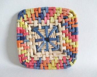 Square Trivet Straw Raffia Coil Wall Hanging Pastel Pink Blue Yellow Orange Boho Vintage