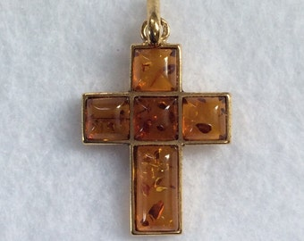 Gold color Sterling silver Amber cross