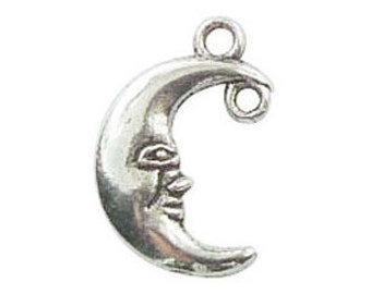 10 Silver Crescent Moon Charm Celestial Pendant 18x12mm by TIJC SP0313