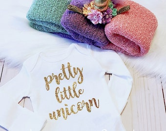 Unicorn Swaddle, Pretty Little Unicorn Bodysuit & Unicorn Headband, Newborn Photo Outfit, Unicorn Swaddle Outfit, Unicorn Baby Girl Outfit