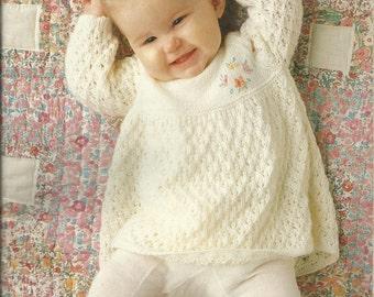 PDF Knitting Pattern, 4Ply, 40 - 50 cm Baby's Dress