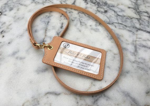 Handmade Leather Lanyard, Leather ID Holder, ID Badge Holder, Card Holder