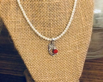 Baby pearl beaded necklace with heart pendant