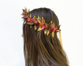 Gold Leaf & Flower Crown, Greek Wedding Crown, Renaissance Headpiece, Goddess Crown, Red, Pink, Gold Hair Laurel, Renaissance Costume, Fae