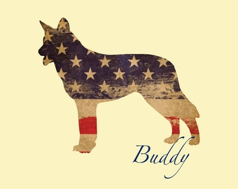 CHOOSE YOUR BREED Personalized Stars & Stripes Dog Print