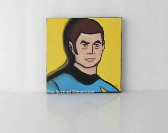 Mini Star Trek McCoy Bones Cartoon Pop Art Sci Fi Art Painting - 4 x 4 Inches