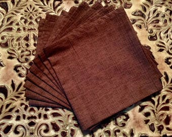 8 Brown Cloth Napkins