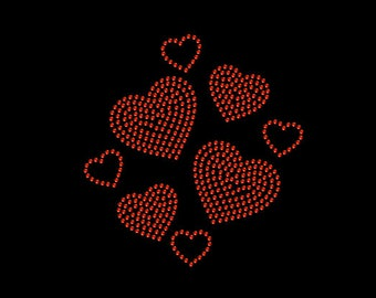 Valentine's Heart Hearts Rhinestone Iron On Transfer Hotfix Bling