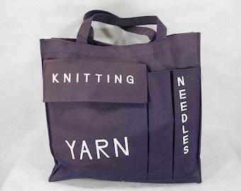 7 Dollar Sale---Vintage 60's Knitting Canvas Tote Bag