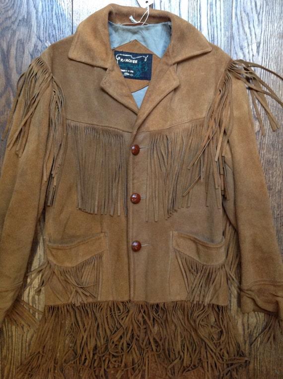 Vintage 1960s 60s Schott Rancher Western cowboy brown suede tassel jacket Easy Rider 40 chest