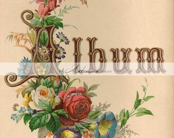 Instant Download Printable Art - Antique Album Victorian Flowers Picture Album Art - Paper Crafts Altered Art - Instant Art - Album Page