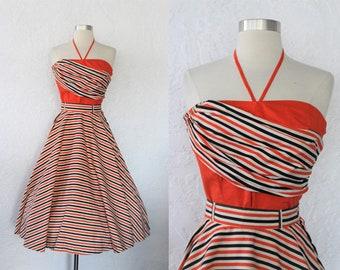 1950s Striped Dress Set / Vintage 50s Sareze of Miami Orange Black Cream Striped Cotton Full Skirt Halter Top Set Pin Up / Viva VLV - XS/S