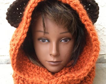 Ewok Hoodie Wicket Hat Crochet Star Wars Inspired Wool Ewok Hat Hooded Cowl Scoodie Child Hat Teen Hat Adult Hat Cosplay Costume