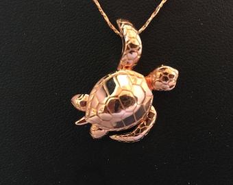 ROSE gold Hawaiian sea Turtle necklace. Sea turtle necklace.Swimming sea turtle necklace .Turtle rescue necklace .