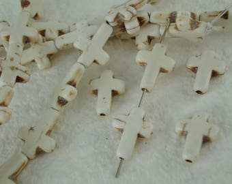 4 Sideways Cross Stone Charm Howlite GemStone Bone Color Pendant Cross Beads - 1/2 x 3/4 inch - 12mm x 16mm  Natural Beads