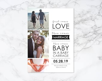 Printable Modern Photo Card Pregnancy Announcement