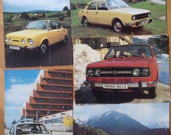 Lot of 5 Vintage Skoda Original Postcards-Motokov Czechoslovakia -70's/ Unused