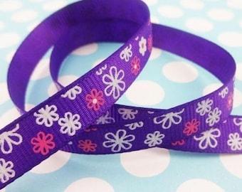 Purple Design ribbon flowers (x 1 meter)