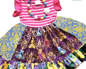 Disney Princess dress Belle Cinderella Rapunzel Sleeping Beauty dress Momi boutique custom dress