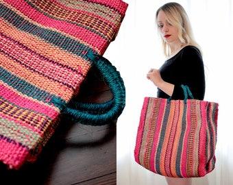 Vintage colorful woven jute market tote bag handbag hot pink teal orange ethnic folk BoHo
