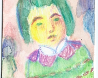Original ACEO Watercolor Painting: Alone