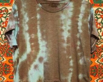 Distressed Striped Flowy Tie-dye Crop Top