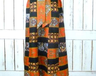 70s vintage black/orange Indian boho print patchwork maxi skirt/highwaist hippie festival long skirt
