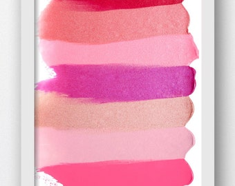 Makeup Swatch Red, Pink,Cream,Shades,Digital Makeup Swatches, Lip Color Splashes,Beauty Swatches, Makeup Artist Color Salon Wall Prints