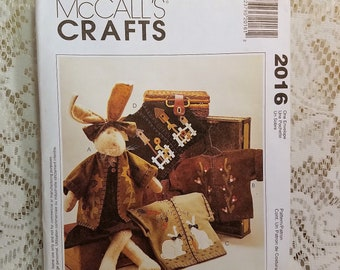 McCalls Crafts 2016 Sewing Pattern, Cloth Bunny Rabbit Doll with Clothing, Cloth Animal Doll, Kathi Campbell, Country Decor, UNCUT