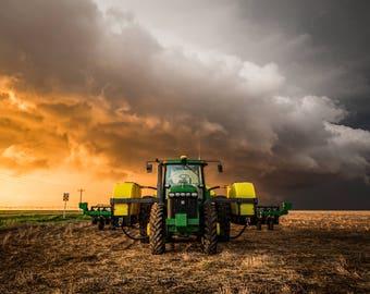 John Deere Photography Print - Fine Art Picture of John Deere Tractor and Storm in Golden Light in Western Kansas Farm Home Decor Artwork