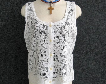 70s Vintage White Lace Blouse Sheer Sleeveless Overblouse, Scoop Neck, Front Button, Romantic, Peasant, Boho, Made In Greece, Bust 34 35