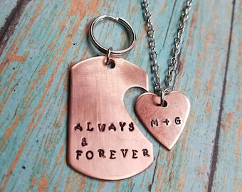 Personalized Copper Couples Gift - Key Chain Set - Girlfriend Gift - Copper Seventh Anniversary Gift - Hand Stamped - His and Her Gift