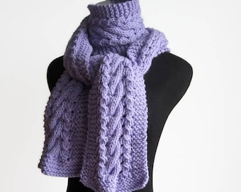 Lilac Cable and Lace Scarf, Vegan Knits, Winter Accessories, Winter Scarf, Knit Scarf, The Stef Scarf